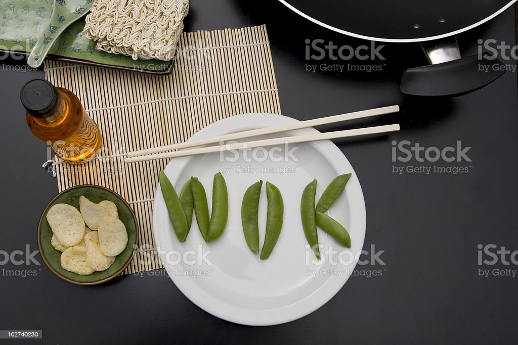 'Wok' in sugar snap letters stock photo