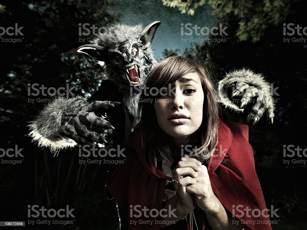 Wolf and Little Red Ridding Hood royalty-free stock photo