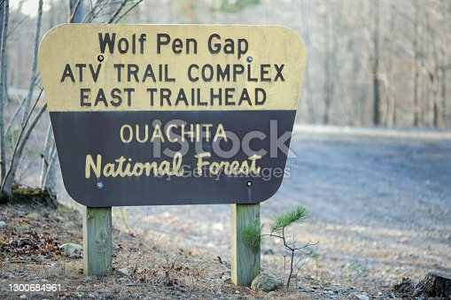 Close up of sign in Ouachita National Forest for Wolf Pen Gap ATV Trail Complex East Trailhead