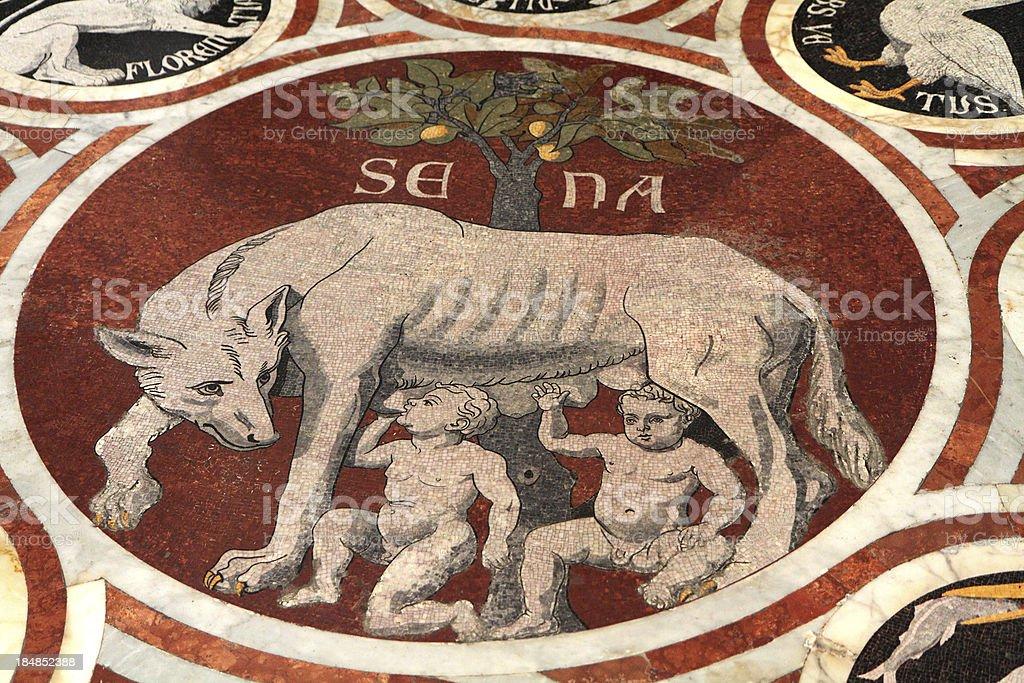 Wolf Suckling Romulus and Remus, Siena Duomo, Tuscany, Italy stock photo