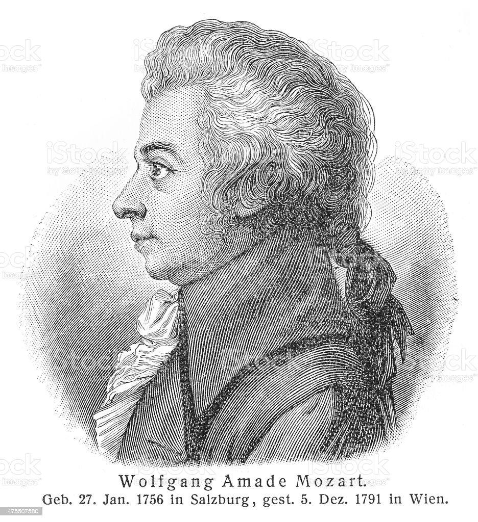 Wolfgang Amadeus Mozart engraving stock photo
