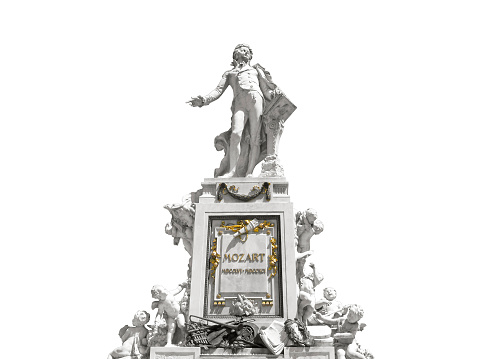 Wolfgang Amadeus Mozart, isolated sculpture on white background