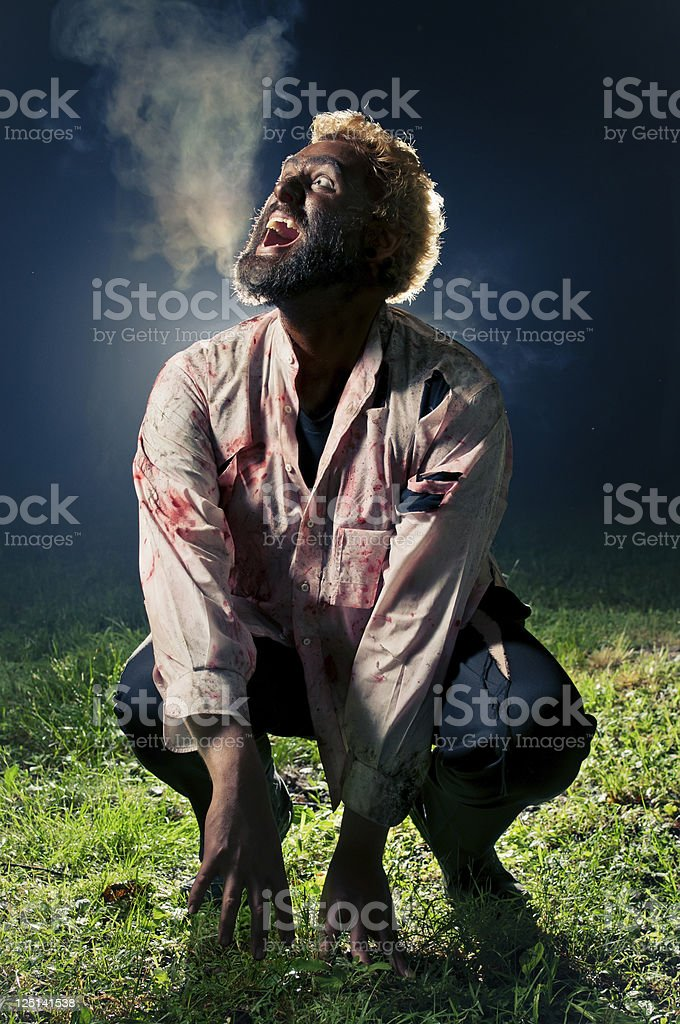 Wolfman Howling At The Moon stock photo