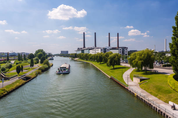 Wolfsburg with river Wolfsburg with river lower saxony stock pictures, royalty-free photos & images