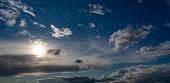 abendlicher Himmel mit Wolken und Sonne, Deutschland, NRW