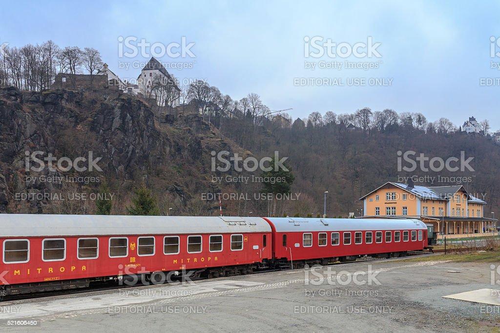Wolkenstein Castle and Train Restaurant stock photo