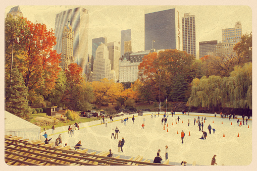 Retro-styled postcard of the Wollman ice skating rink in Central Park, NY. All artwork is my own. For hundreds of vintage postcards from around the world, click the banner below: