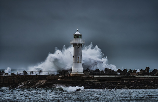 Wollongong Breakwater Lighthouse in the Storm