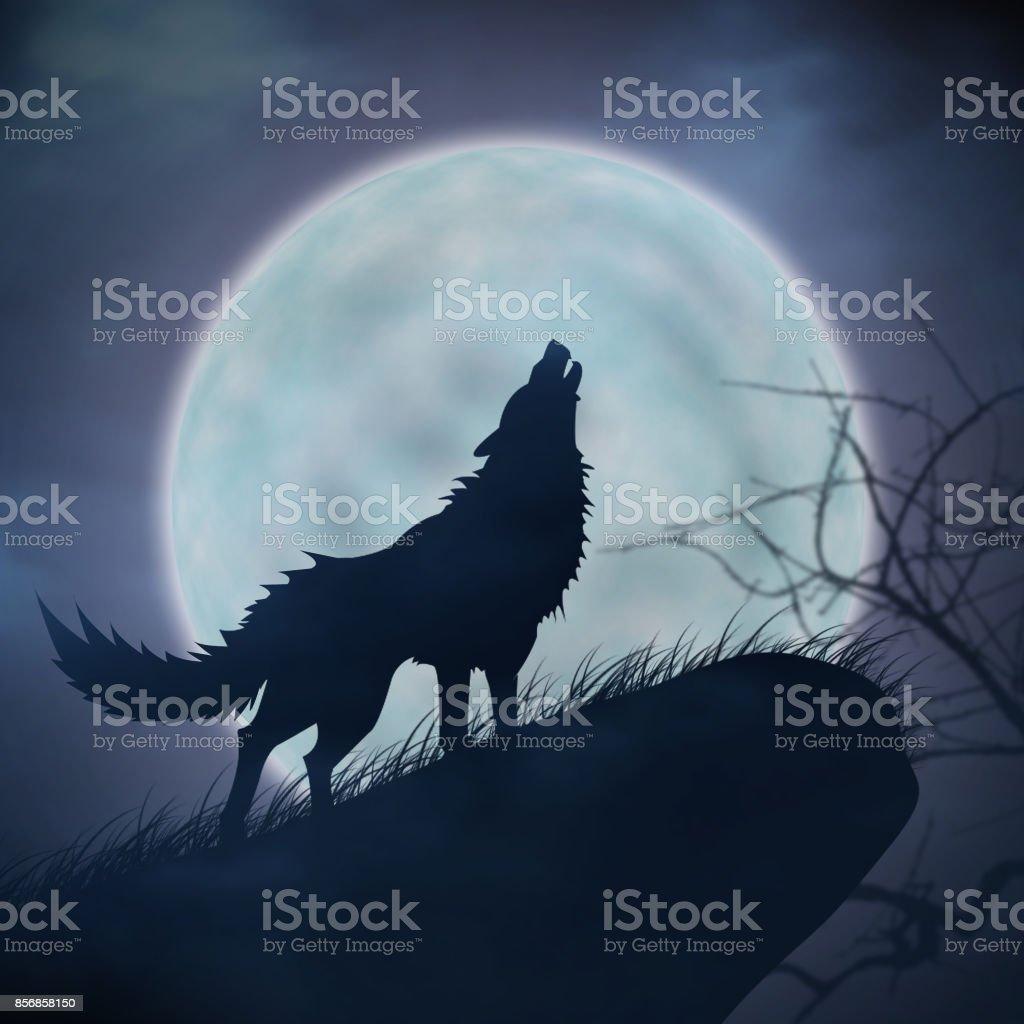 Aullido De Lobos Y Luna Llena Foto De Stock Y Más Banco De Imágenes De Aire Libre Istock