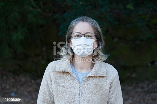 Woman 40-49 years outdoors, wearing glasses and white mask to protect against coronavirus and other contagious diseases. Looking at the camera. Copy space. Horizontal shot.