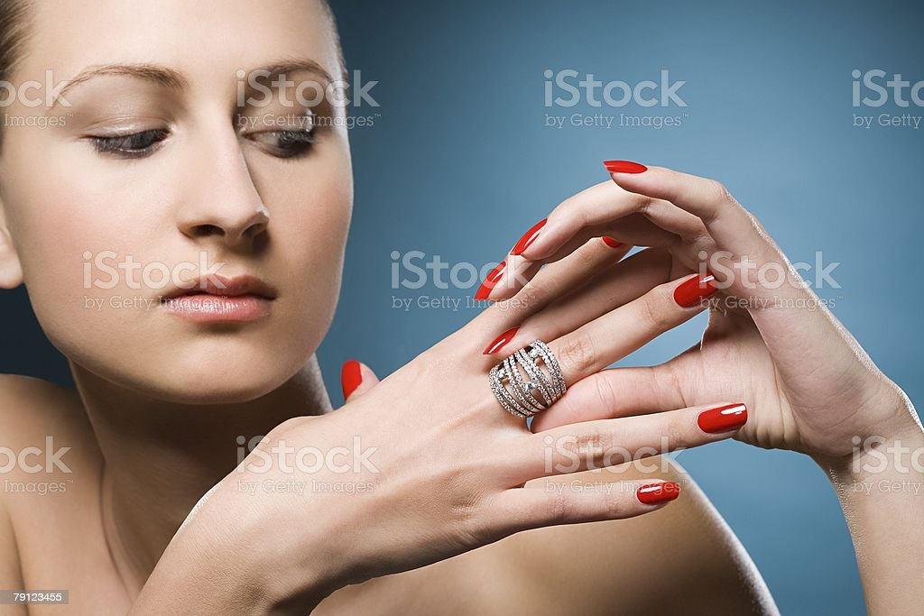 Woman a ring on her finger 免版稅 stock photo