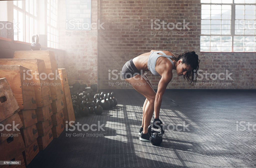 Woman about to start her fitness regime stock photo