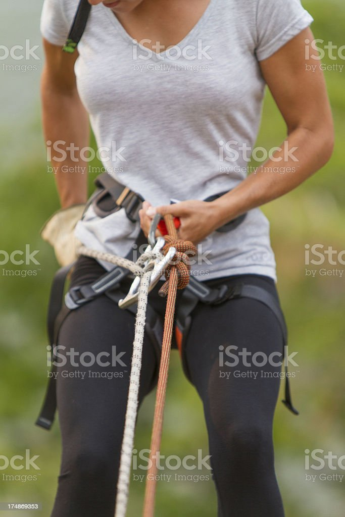 Woman Abseiling royalty-free stock photo