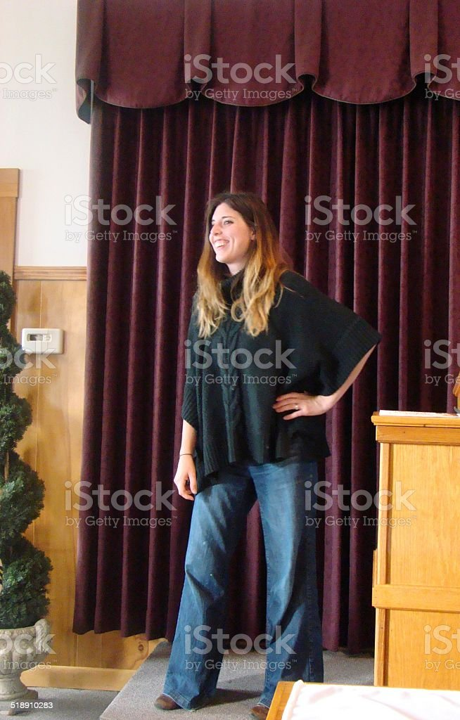 Woman acting on stage stock photo