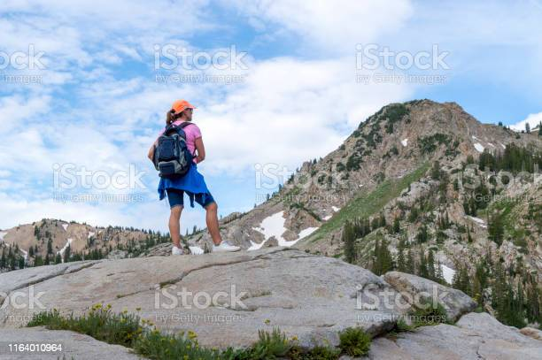Photo of Woman Admiring a Panoramic Mountain Scene in the Wasatch Mountains of Utah