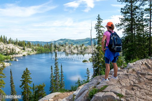 istock Woman Admiring a Panoramic Scene Above a Mountain Lake - Lake Mary in the Wasatch Mountains of Utah 1164010942