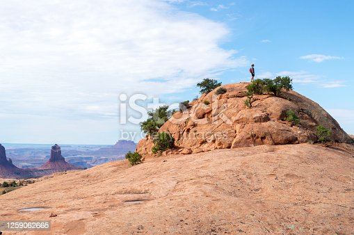 This pictures shows a single woman admiring the view from the top of the summit at the Whale Rock in Canyonlands National Park, Utah, USA.  In the distance are the rock spires and desert terrain of the park.
