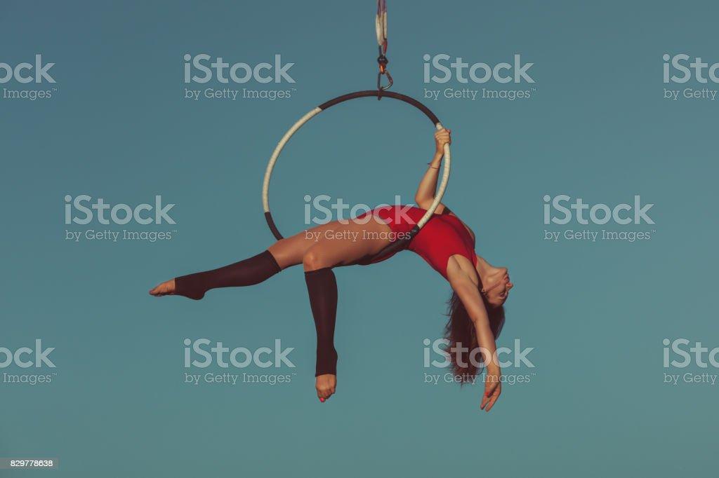 Woman aerial acrobat. stock photo