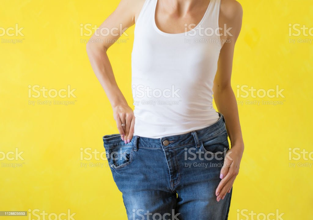 Woman after successful weight loss stock photo