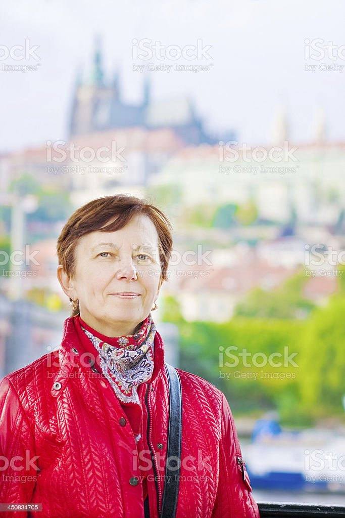 Woman against Prague's sights royalty-free stock photo