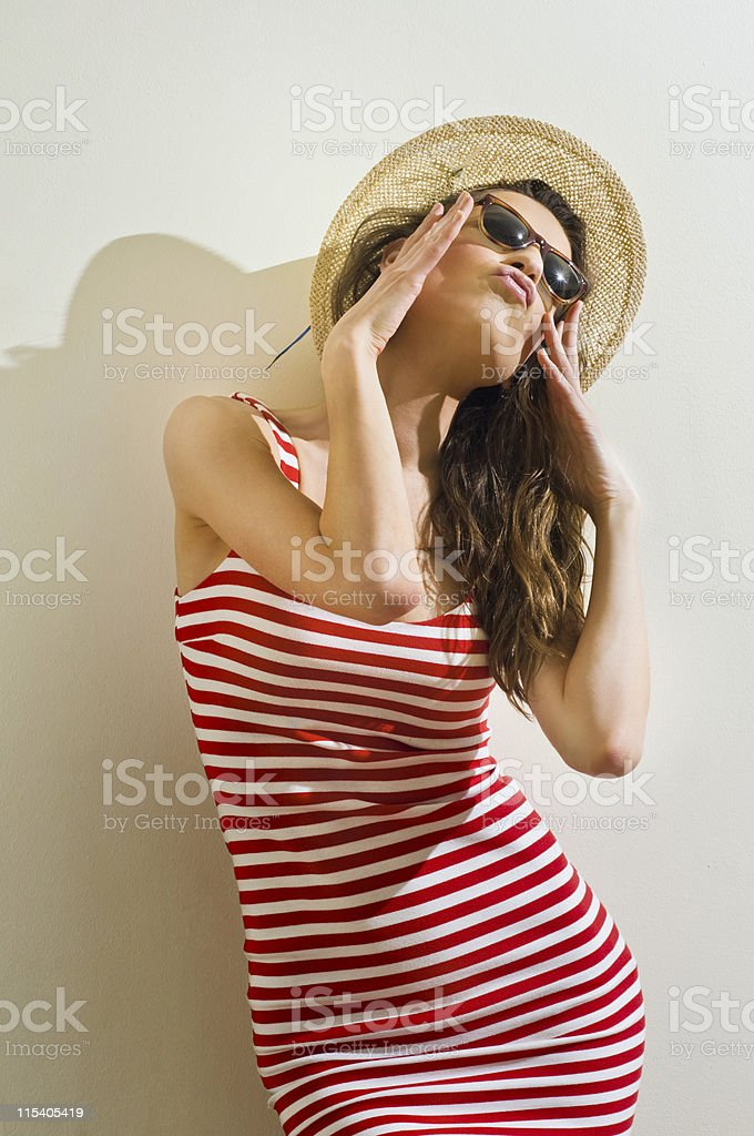 woman against the wall royalty-free stock photo