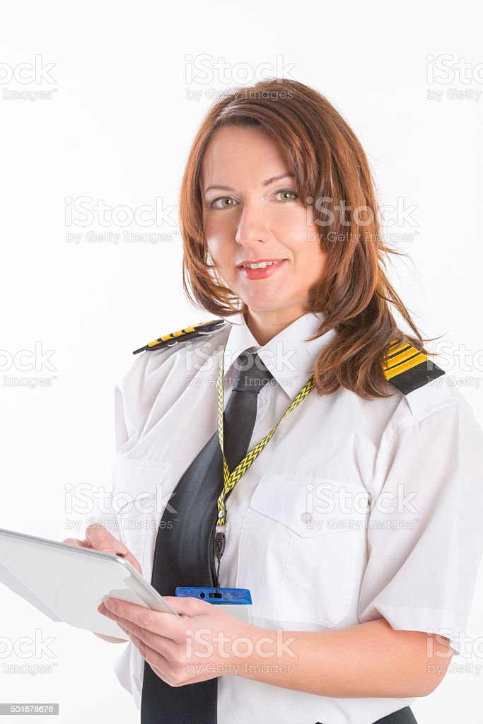 Woman airline pilot stock photo