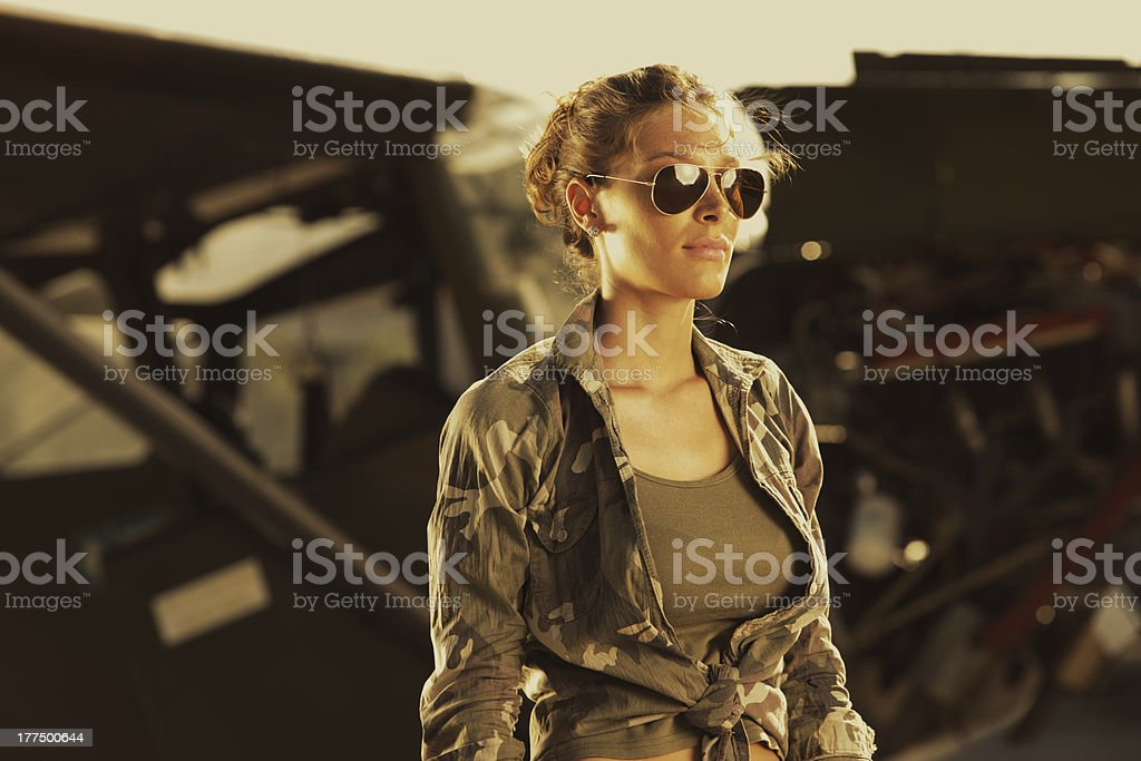Woman airplane aviator stock photo