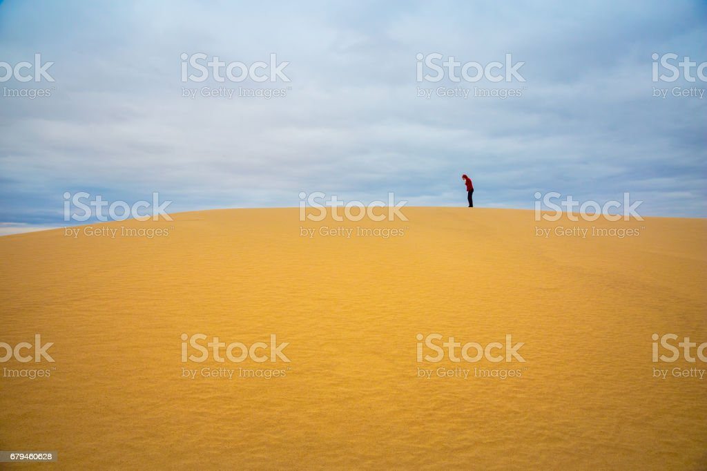 Woman Alone in Desert royalty-free stock photo