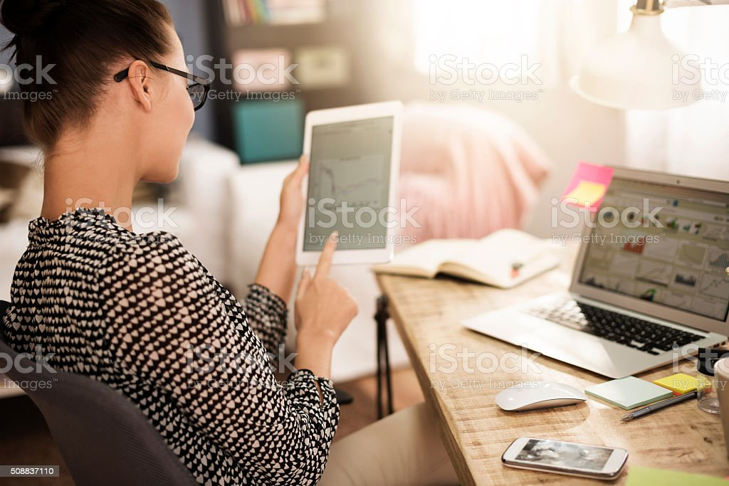 Woman analysing some very important data stock photo