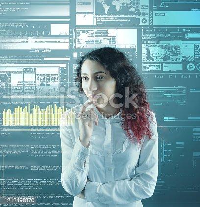 1054713428 istock photo Woman analyze futuristic user interface . High tech screens data and information . 1212498870