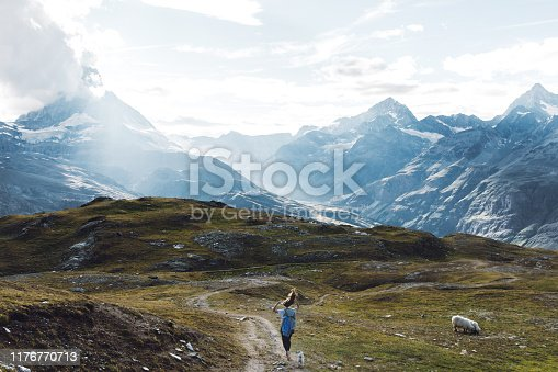Silhouette of young woman with long hair and her small fluffy cute pug hiking with Matterhorn view in Zermatt region, Valais, Swiss Alps on the beautiful meadow with sheep