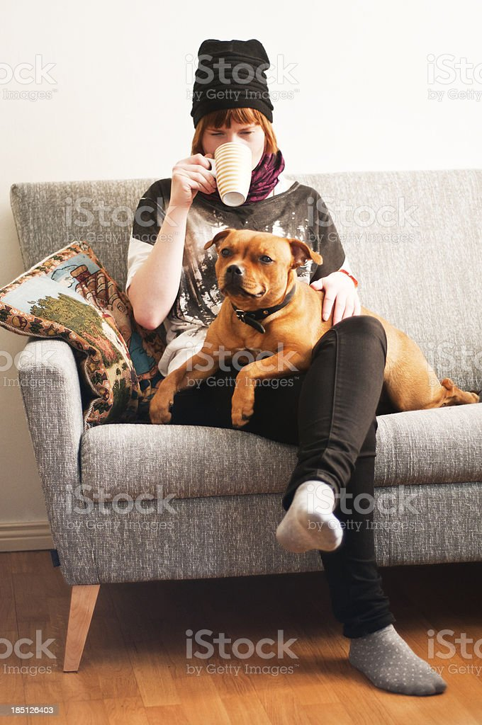 woman and a dog royalty-free stock photo