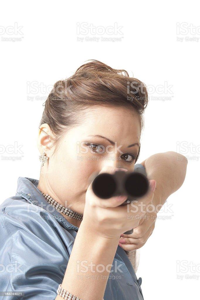 Woman and a gun royalty-free stock photo