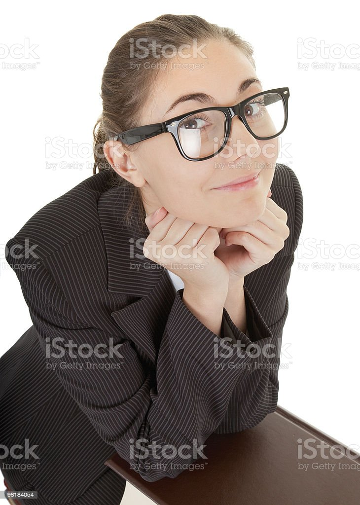 woman and a pile of books royalty-free stock photo
