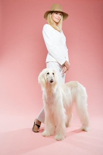 istock Woman and an afghan hound 72735738