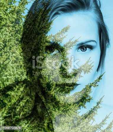 624717328istockphoto Woman and autumn forest. 1058703876