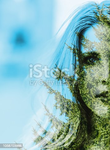 624717328istockphoto Woman and autumn forest. 1058703986