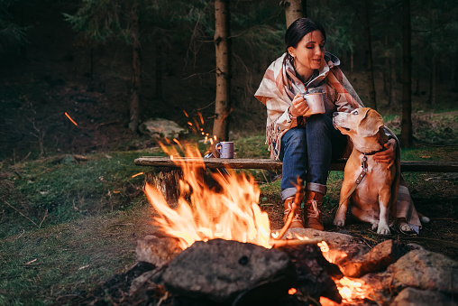Woman and beagle dog warm near the campfire