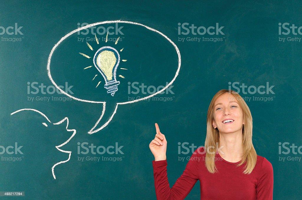 Woman and big idea stock photo
