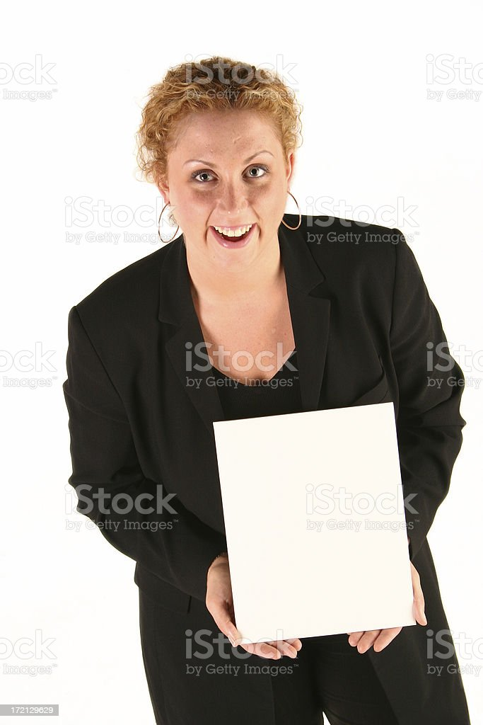Woman and blank paper royalty-free stock photo