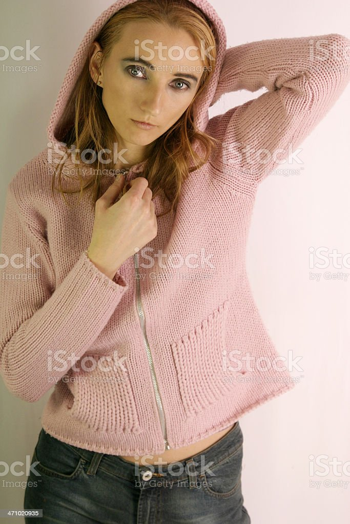 woman and cardigan stock photo