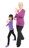 A senior woman and her granddaughter practice Tai Chi together. White background.