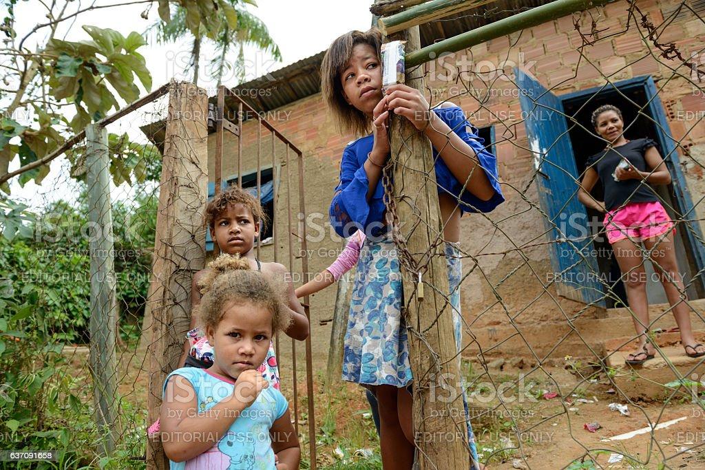 Woman and childrens, Rio de Janeiro stock photo