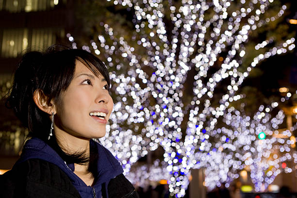 Woman and Christmas lights (close-up) stock photo