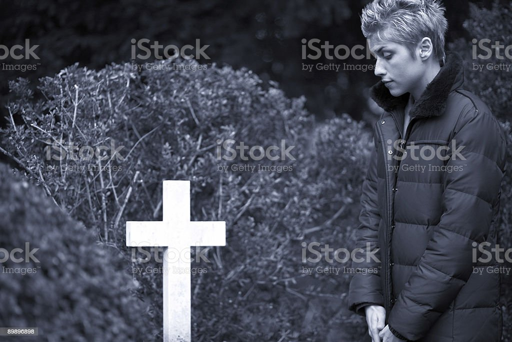 woman and cross royalty-free stock photo