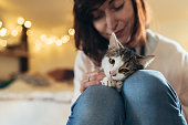 Woman and cute cat