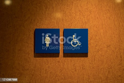 Woman and disabled person toilet icon.