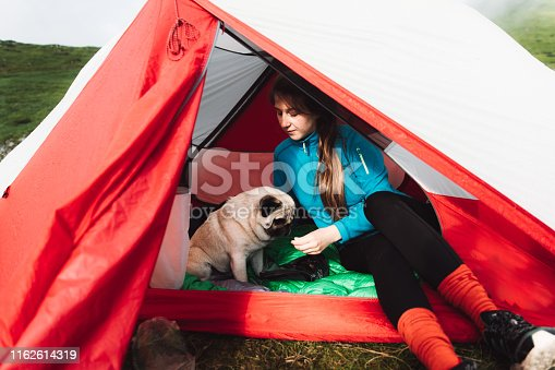 Young woman with long hair and a small fluffy pug having bright morning in Carpathian Mountains and sitting in the red tent
