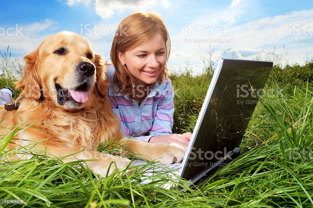 Woman and dog resting, typing on laptop. royalty-free stock photo