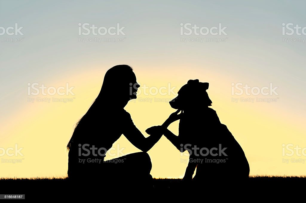 Woman and Dog Shaking Hands Sunset Silhouette stock photo